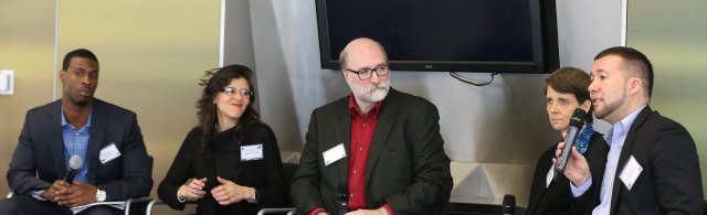 Marlon Peterson (S.O.S.), Gabrielle Horowitz-Prisco (CANY), Jeffrey Butts (John Jay), Laura Wolff (RSC Foundation), Ruben Austria (CCFY)